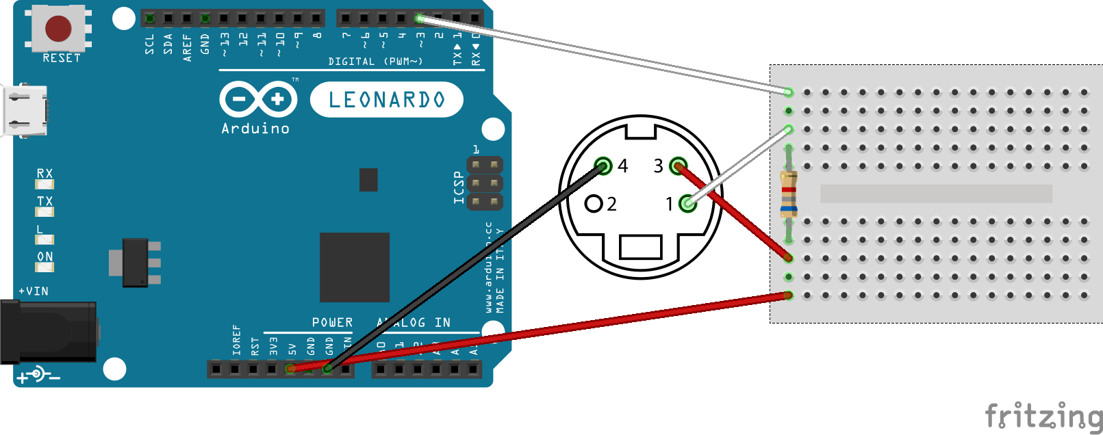 Arduino-ADB connection with pull-up resistor