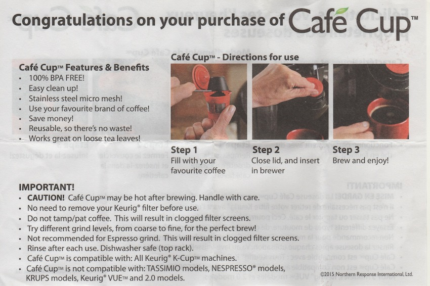poorly-scanned Cafe Cup instructions