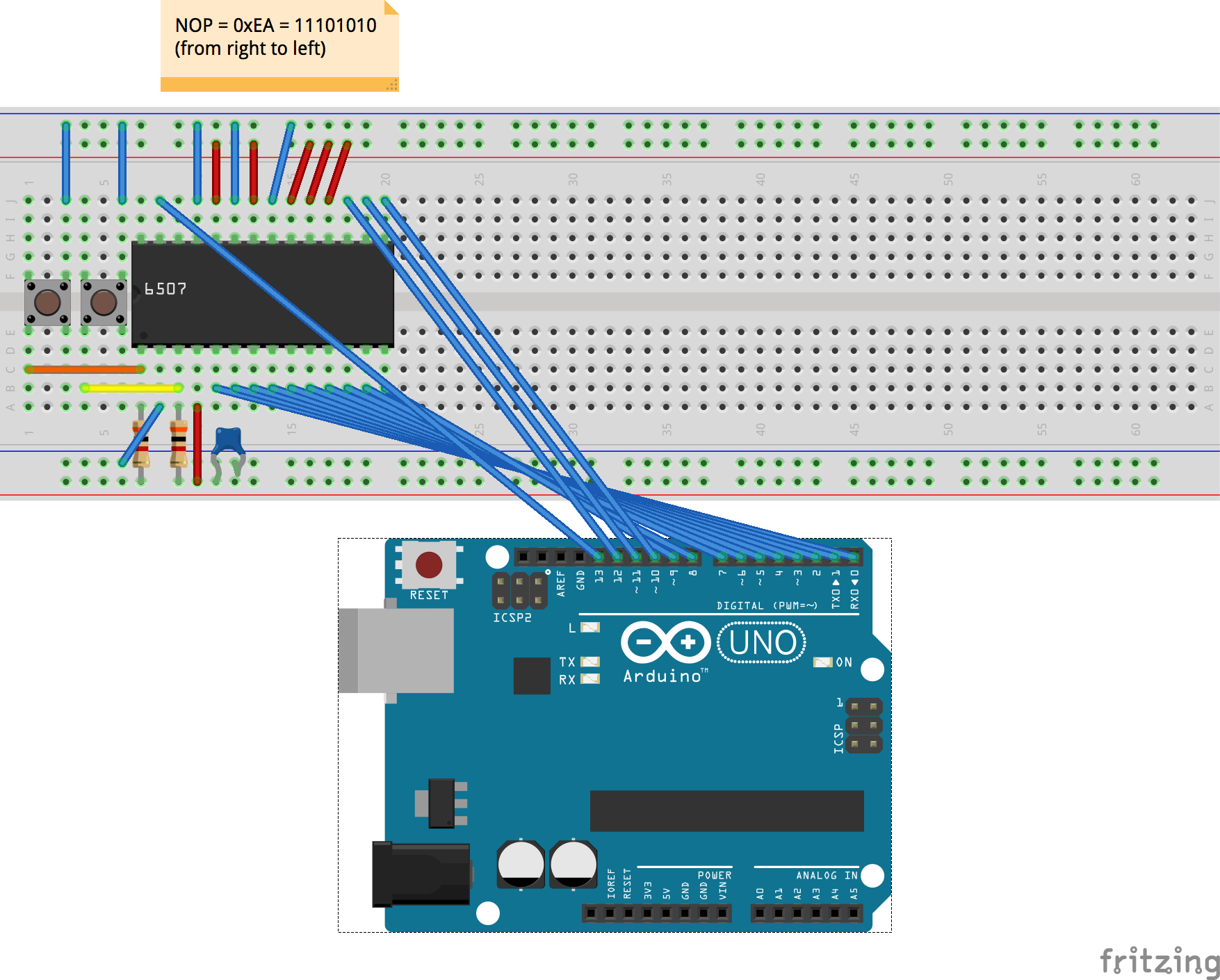 Atari 2600 Cpu Running On A Breadboard Chesters Blog Computer Ram Chips With Binary Code Circuit Board Memory From That Drawing I Rebuilt The Experiment To Weed Out Last Errors Using Shorter Pieces Of Wire Except For Nop And Arduino Connection