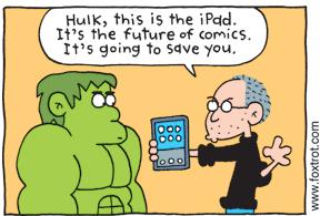 FoxTrot sobre iPad e Quadrinhos (c) Bill Amend http://www.foxtrot.com